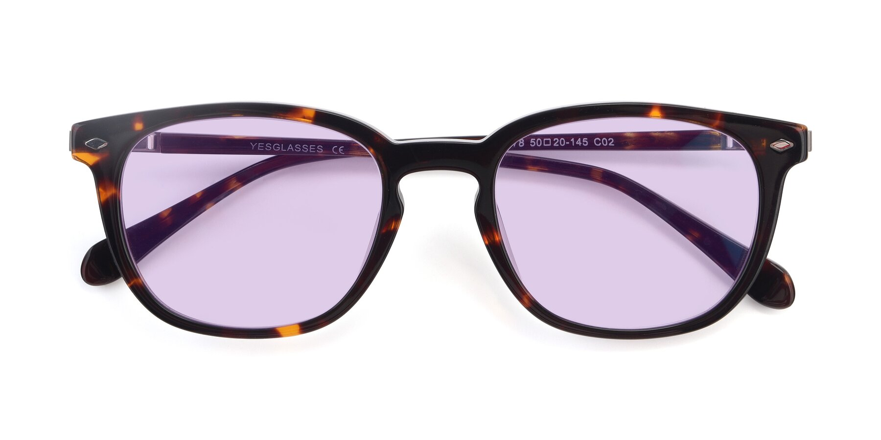 Folded Front of 17578 in Tortoise with Light Purple Tinted Lenses