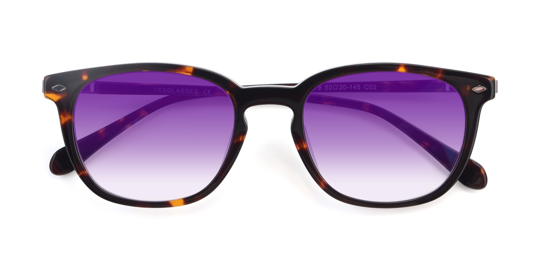 Folded Front of 17578 in Tortoise with Purple Gradient Lenses