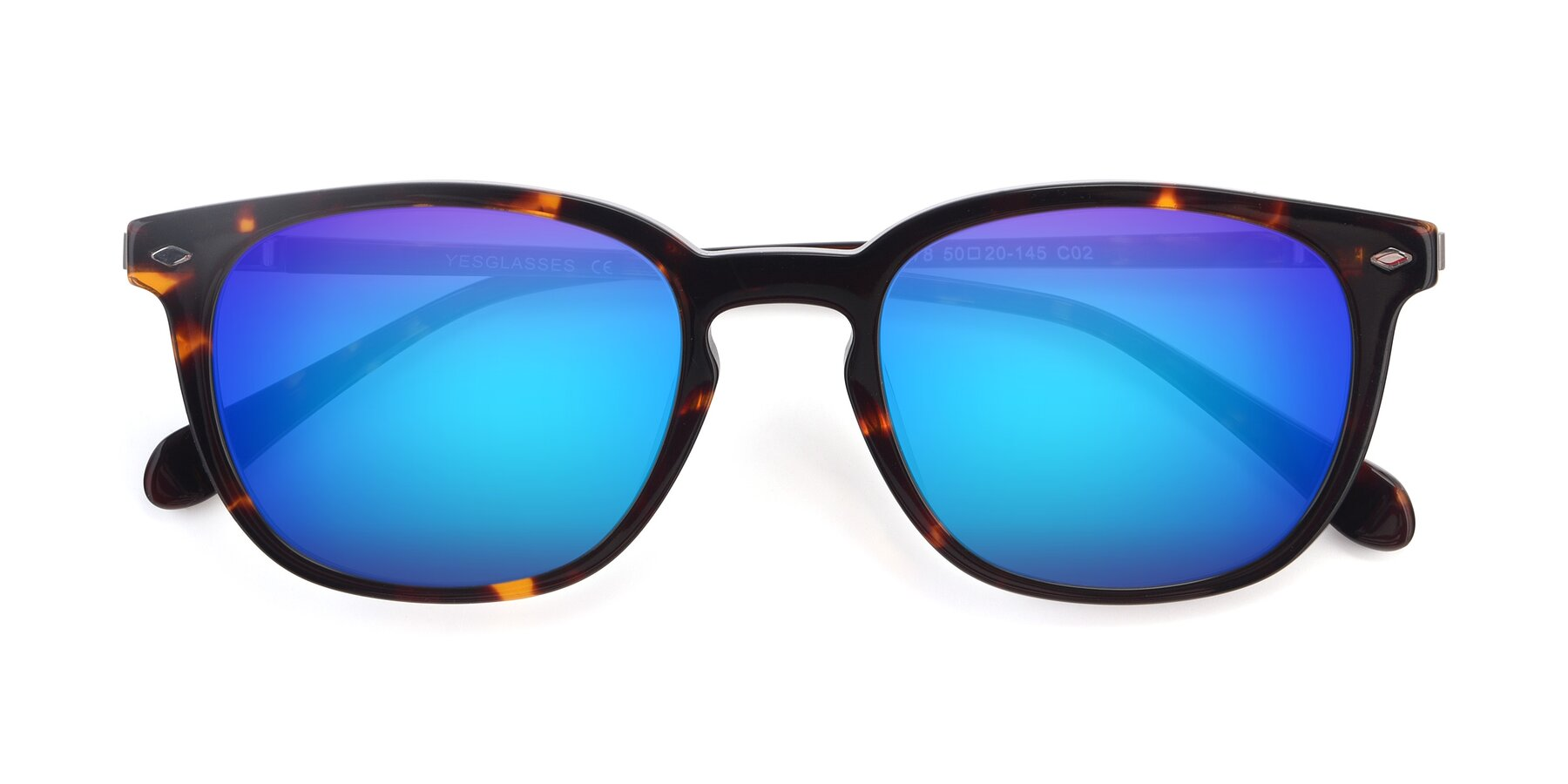 Folded Front of 17578 in Tortoise with Blue Mirrored Lenses