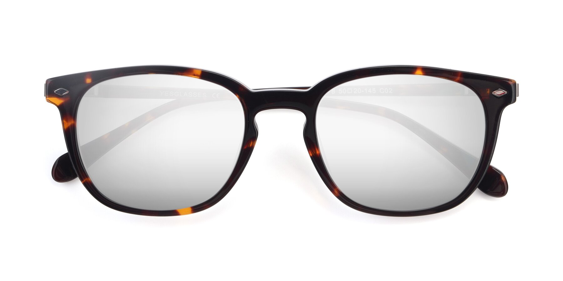 Folded Front of 17578 in Tortoise with Silver Mirrored Lenses