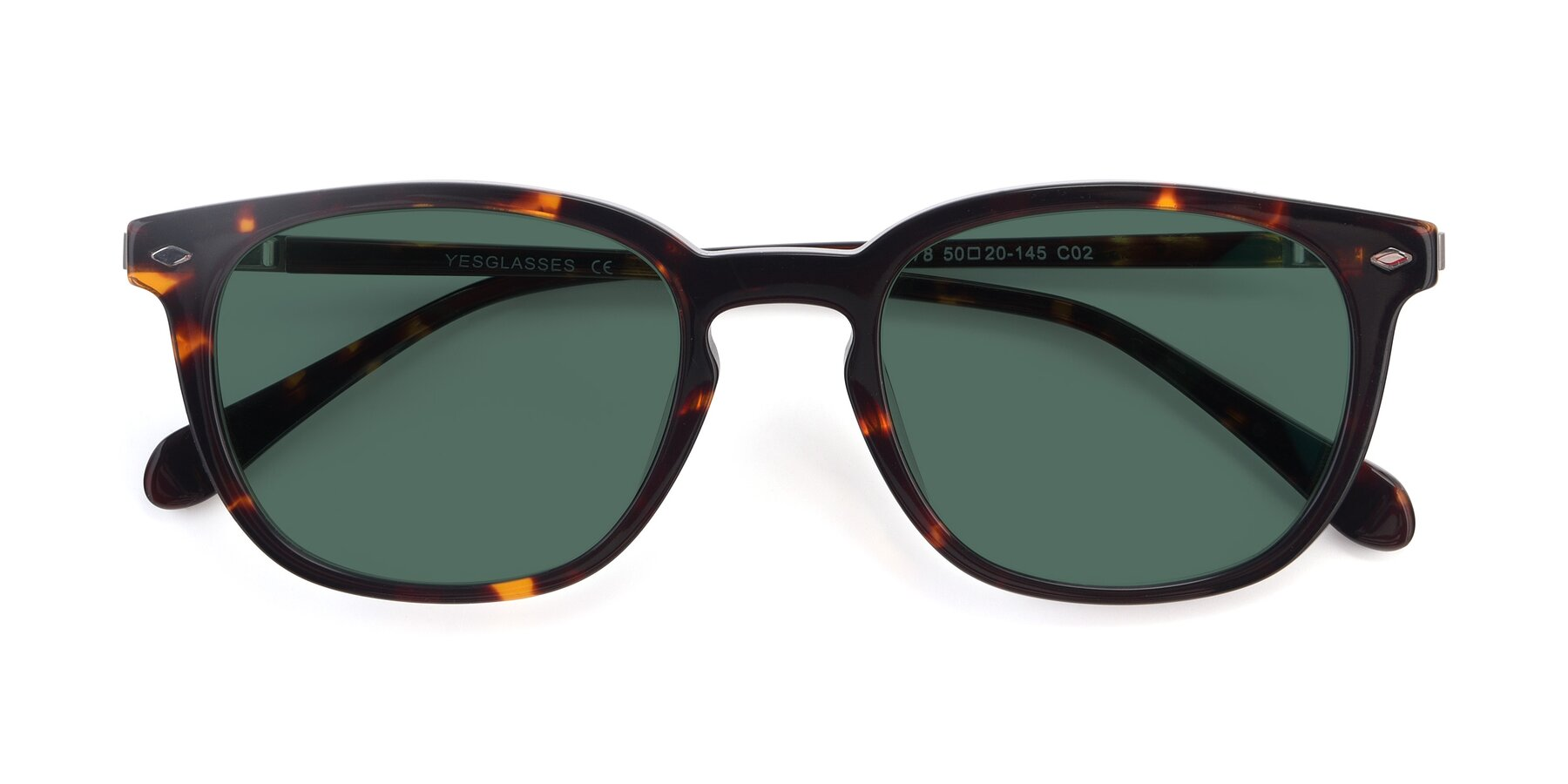 Folded Front of 17578 in Tortoise with Green Polarized Lenses