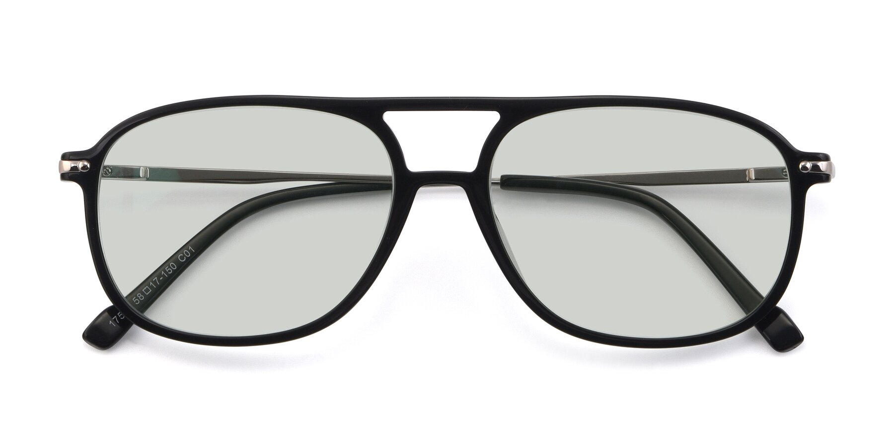 Folded Front of 17580 in Black with Light Green Tinted Lenses