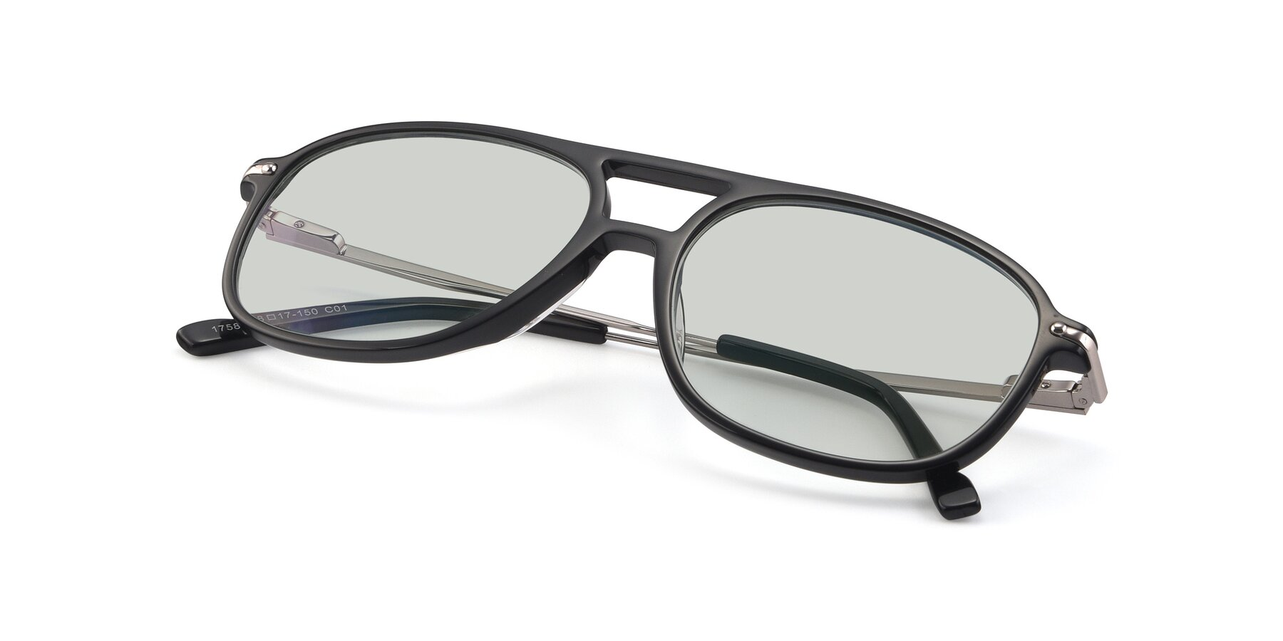 View of 17580 in Black with Light Green Tinted Lenses