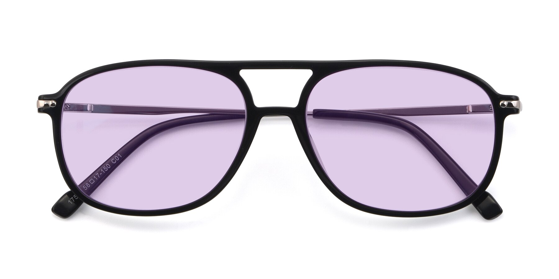Folded Front of 17580 in Black with Light Purple Tinted Lenses