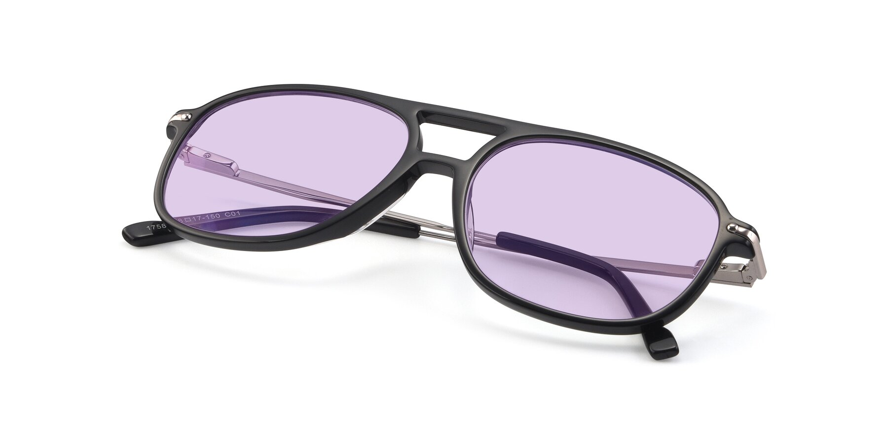 View of 17580 in Black with Light Purple Tinted Lenses