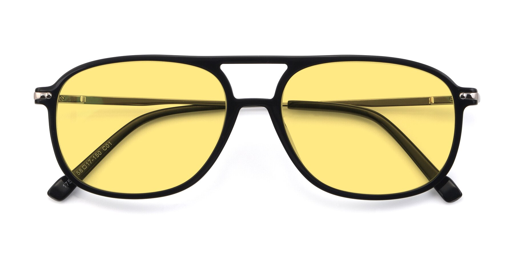 Folded Front of 17580 in Black with Medium Yellow Tinted Lenses