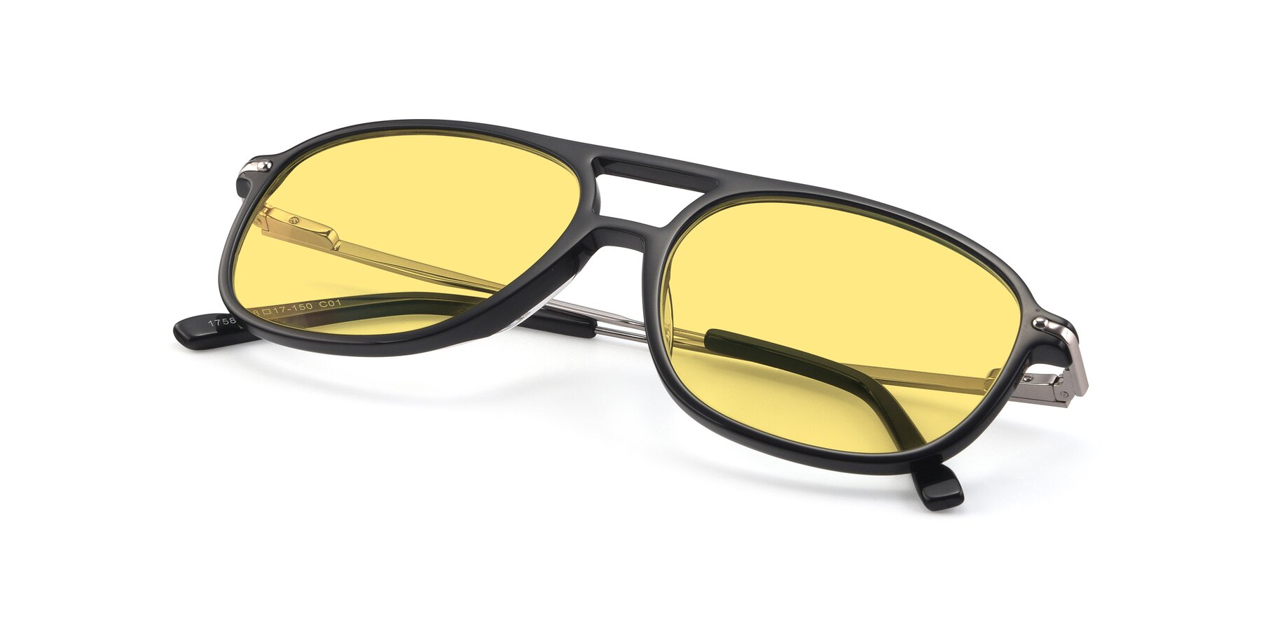 View of 17580 in Black with Medium Yellow Tinted Lenses