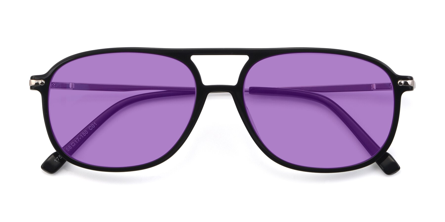 Folded Front of 17580 in Black with Medium Purple Tinted Lenses