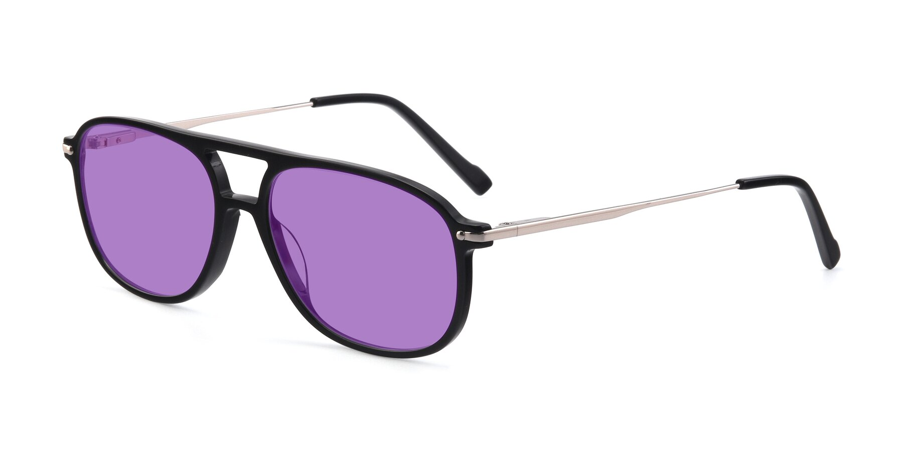 Angle of 17580 in Black with Medium Purple Tinted Lenses