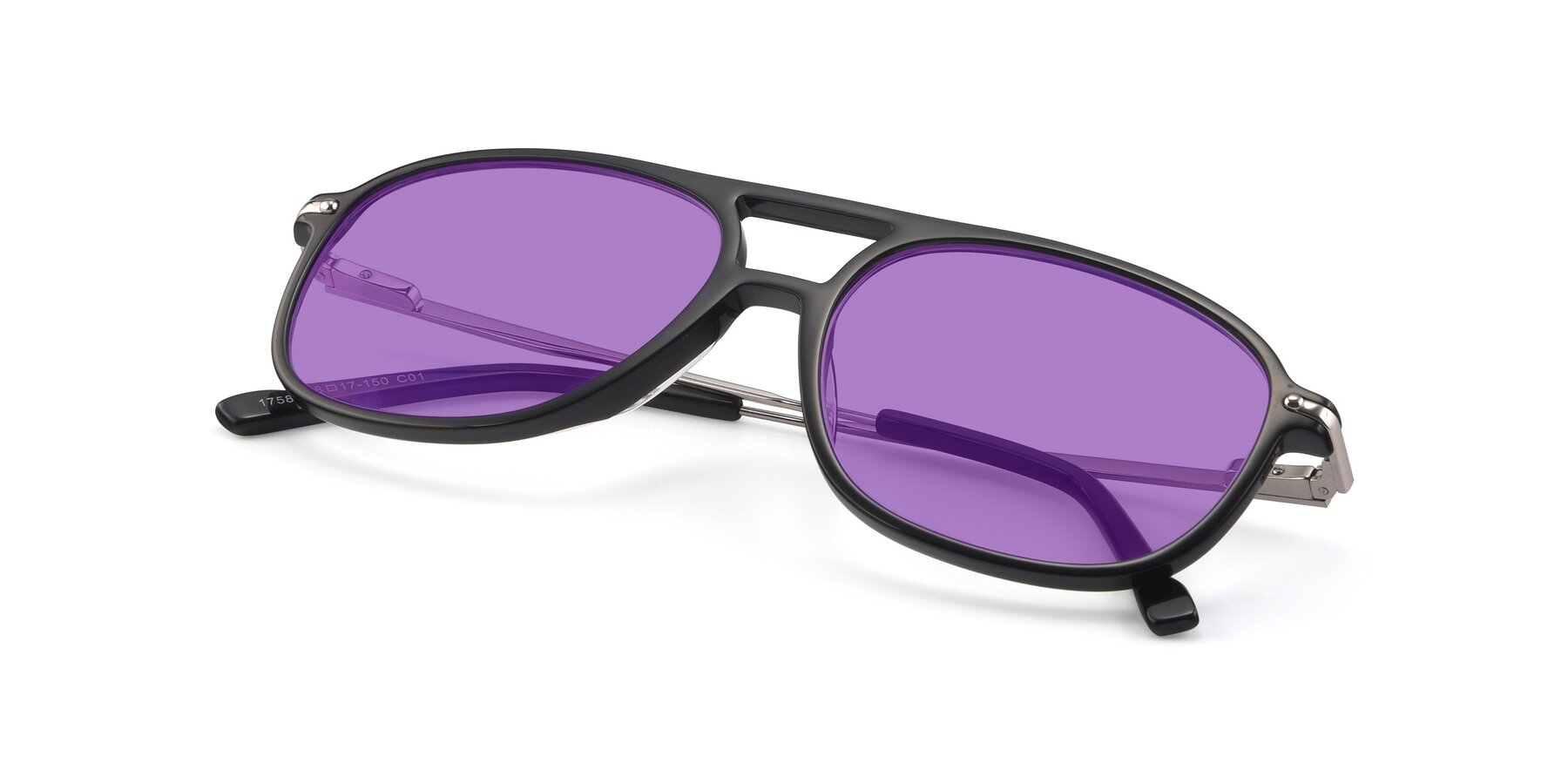 View of 17580 in Black with Medium Purple Tinted Lenses