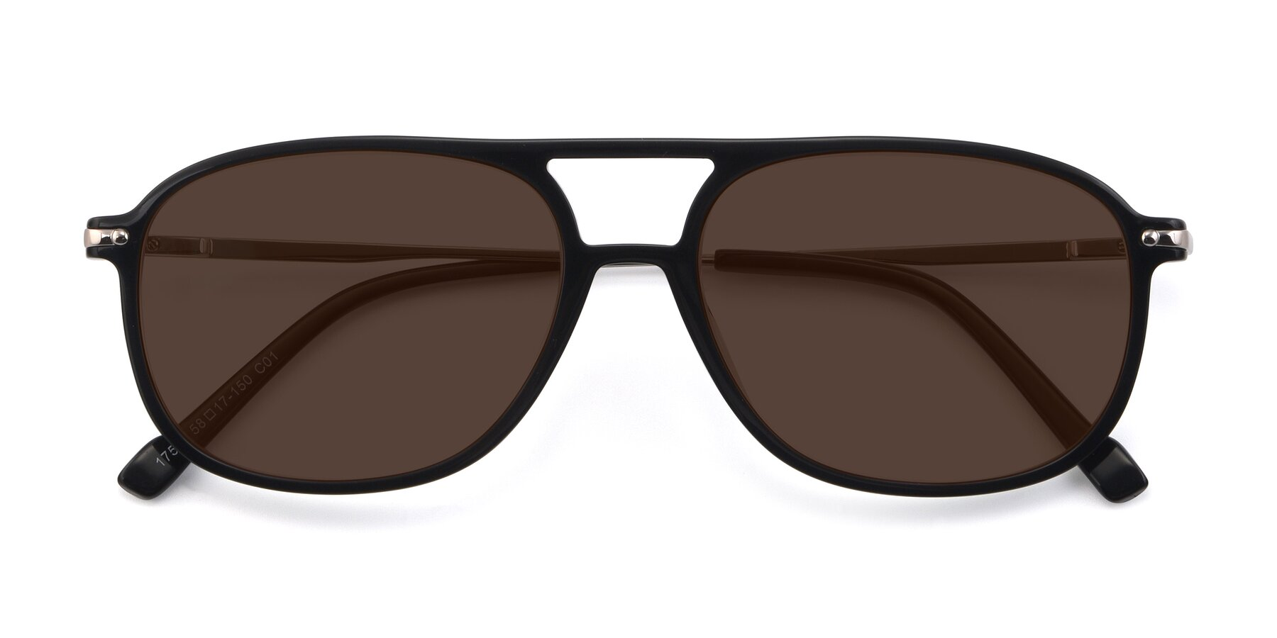 Folded Front of 17580 in Black with Brown Tinted Lenses