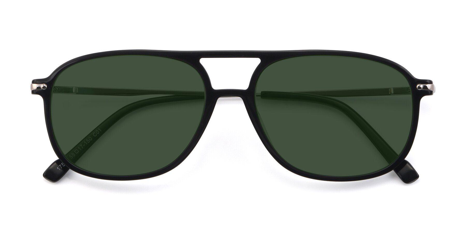 Folded Front of 17580 in Black with Green Tinted Lenses