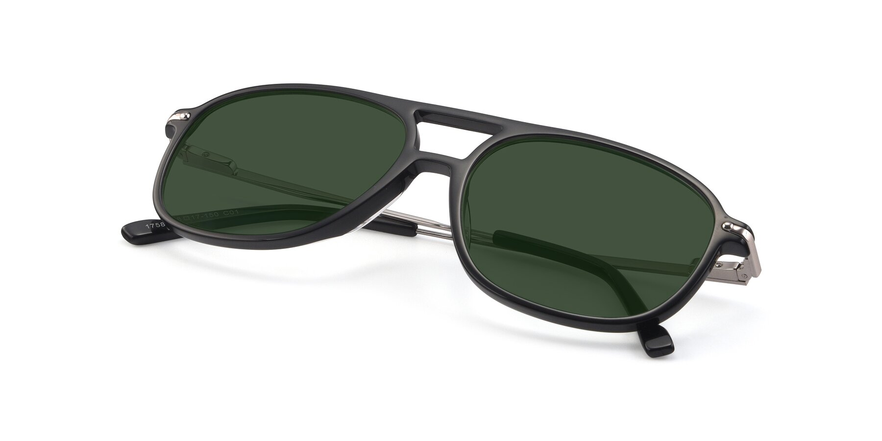 View of 17580 in Black with Green Tinted Lenses