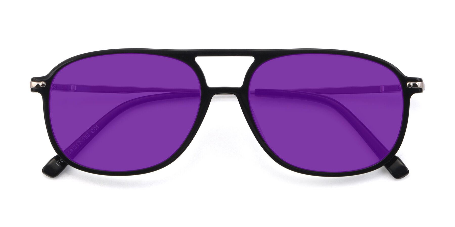 Folded Front of 17580 in Black with Purple Tinted Lenses