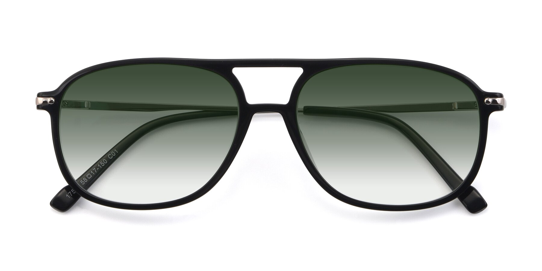 Folded Front of 17580 in Black with Green Gradient Lenses