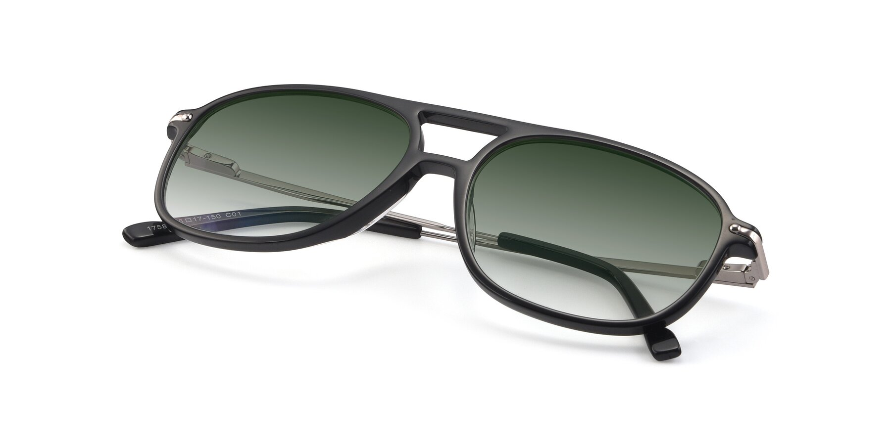 View of 17580 in Black with Green Gradient Lenses