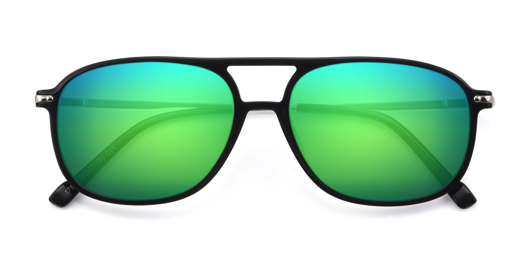 Folded Front of 17580 in Black with Green Mirrored Lenses