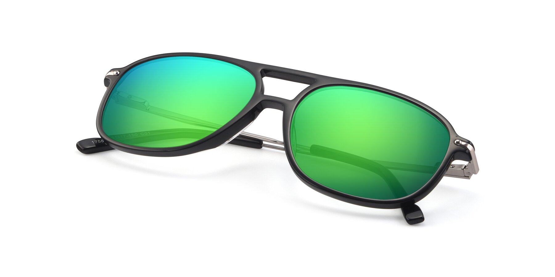 View of 17580 in Black with Green Mirrored Lenses