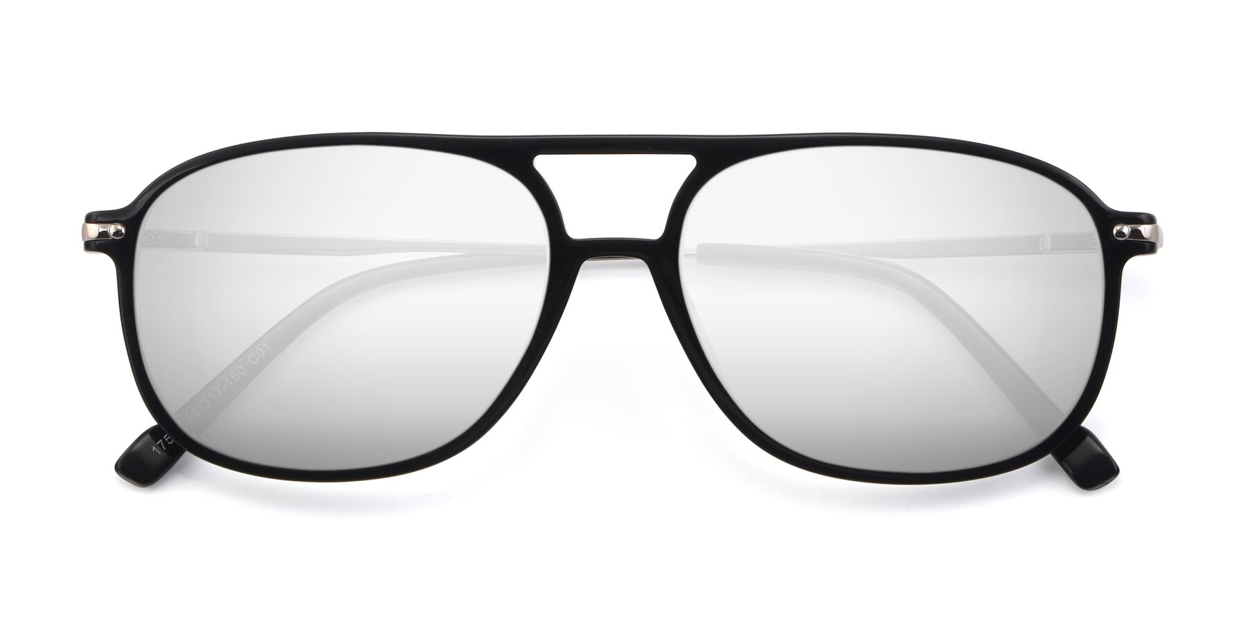 Folded Front of 17580 in Black with Silver Mirrored Lenses