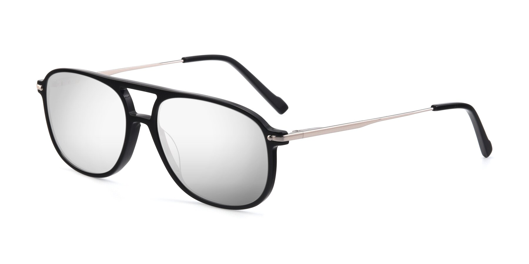Angle of 17580 in Black with Silver Mirrored Lenses
