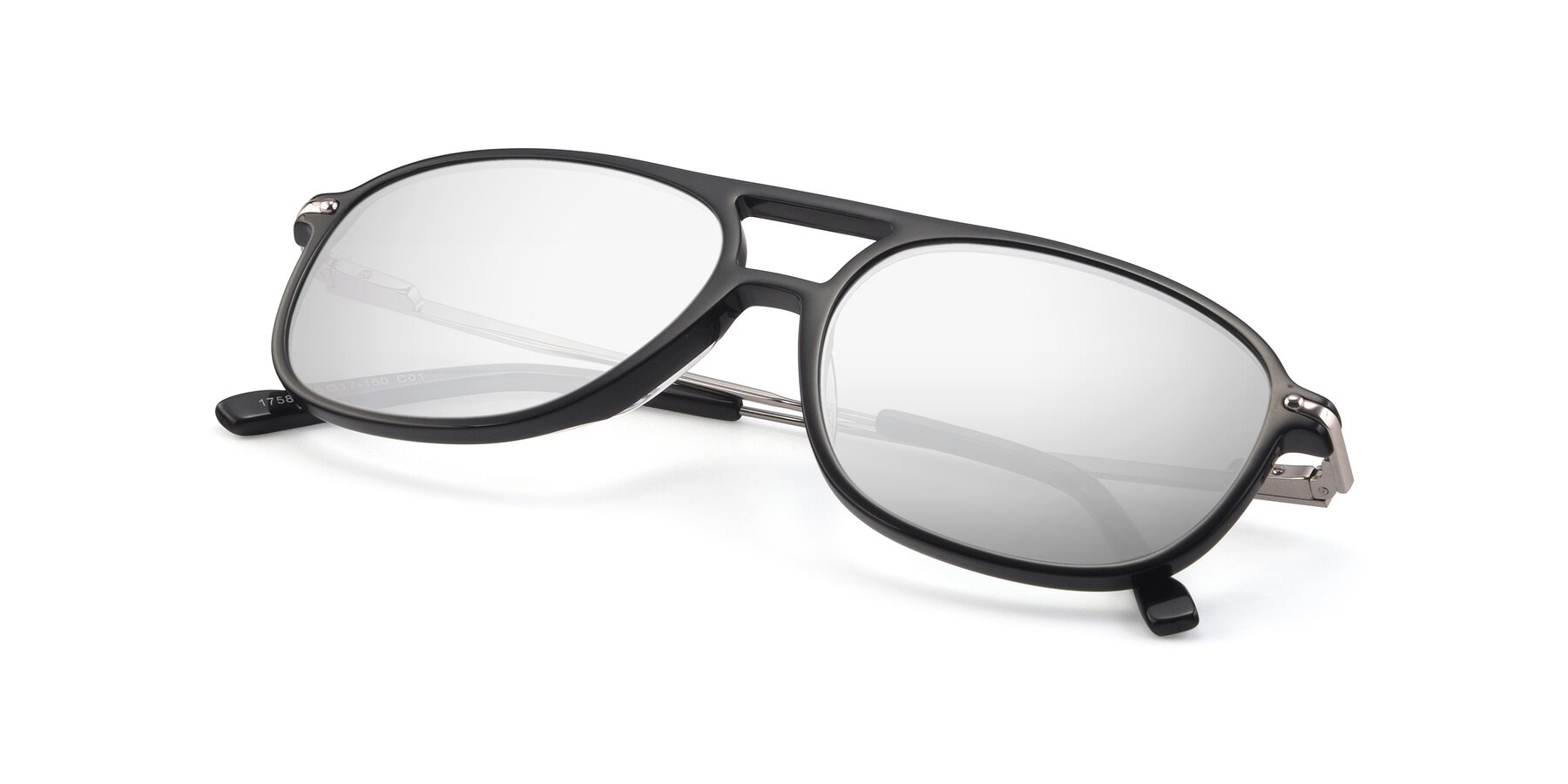 View of 17580 in Black with Silver Mirrored Lenses