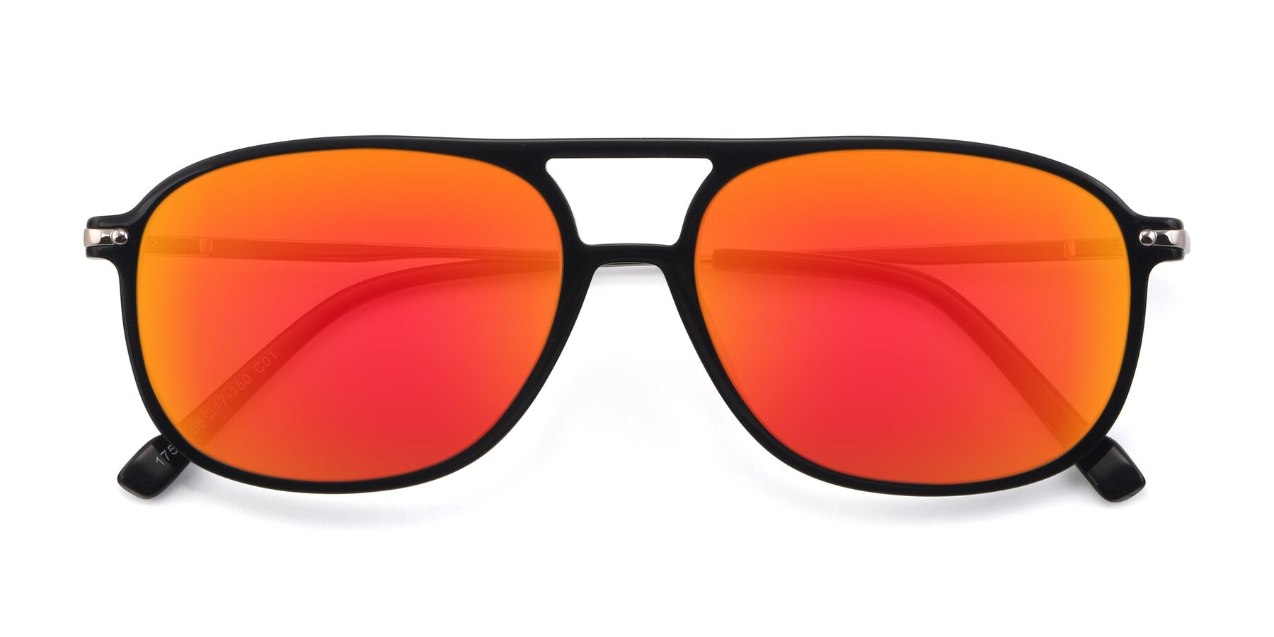 Folded Front of 17580 in Black with Red Gold Mirrored Lenses