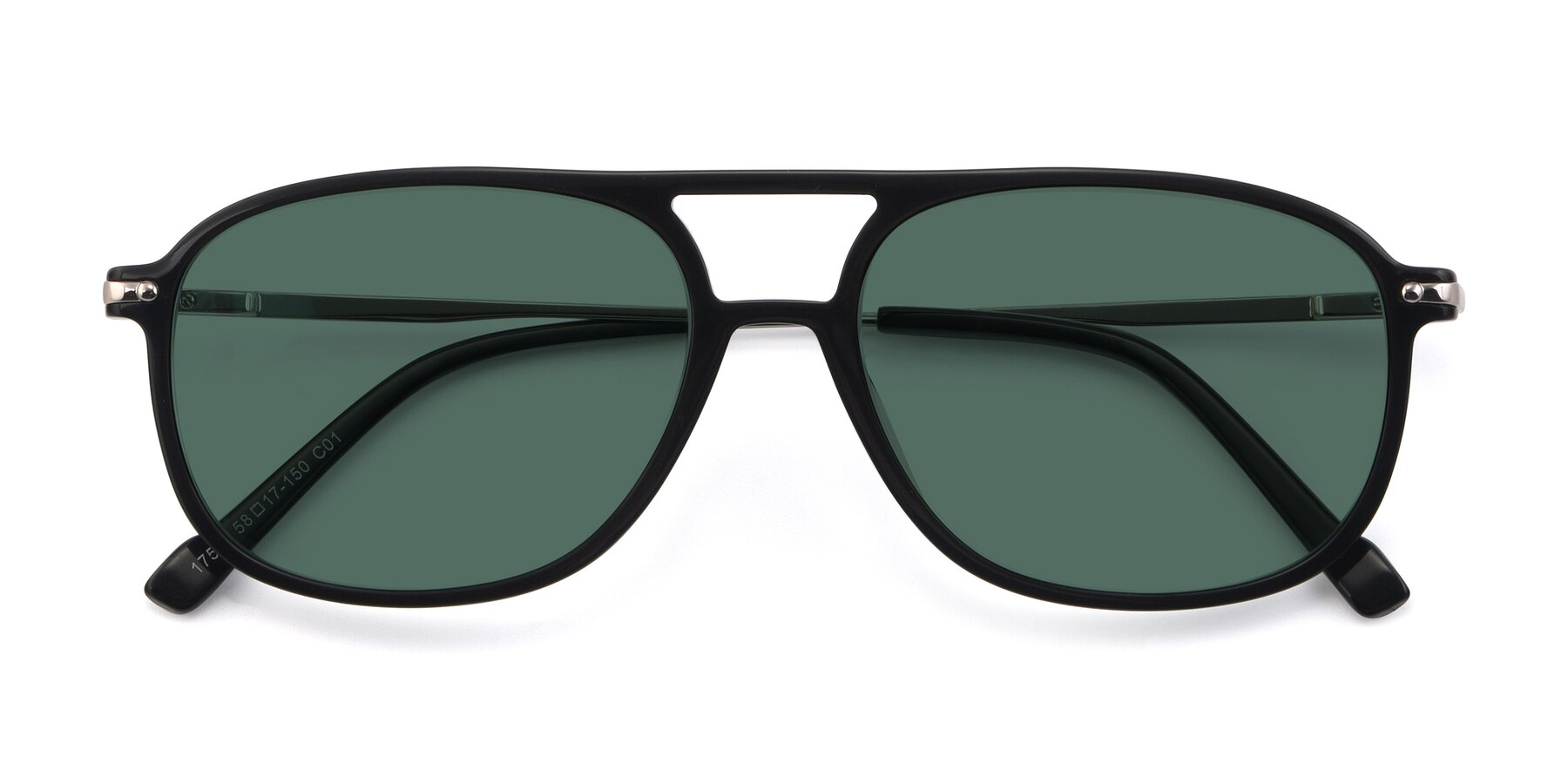 Folded Front of 17580 in Black with Green Polarized Lenses