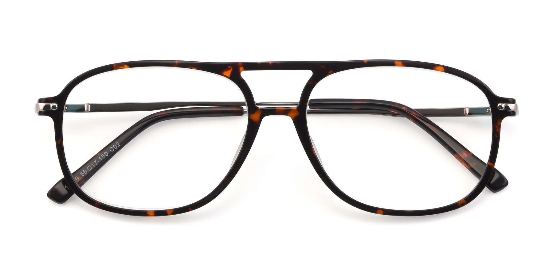 Folded Front of 17580 in Tortoise with Clear Eyeglass Lenses