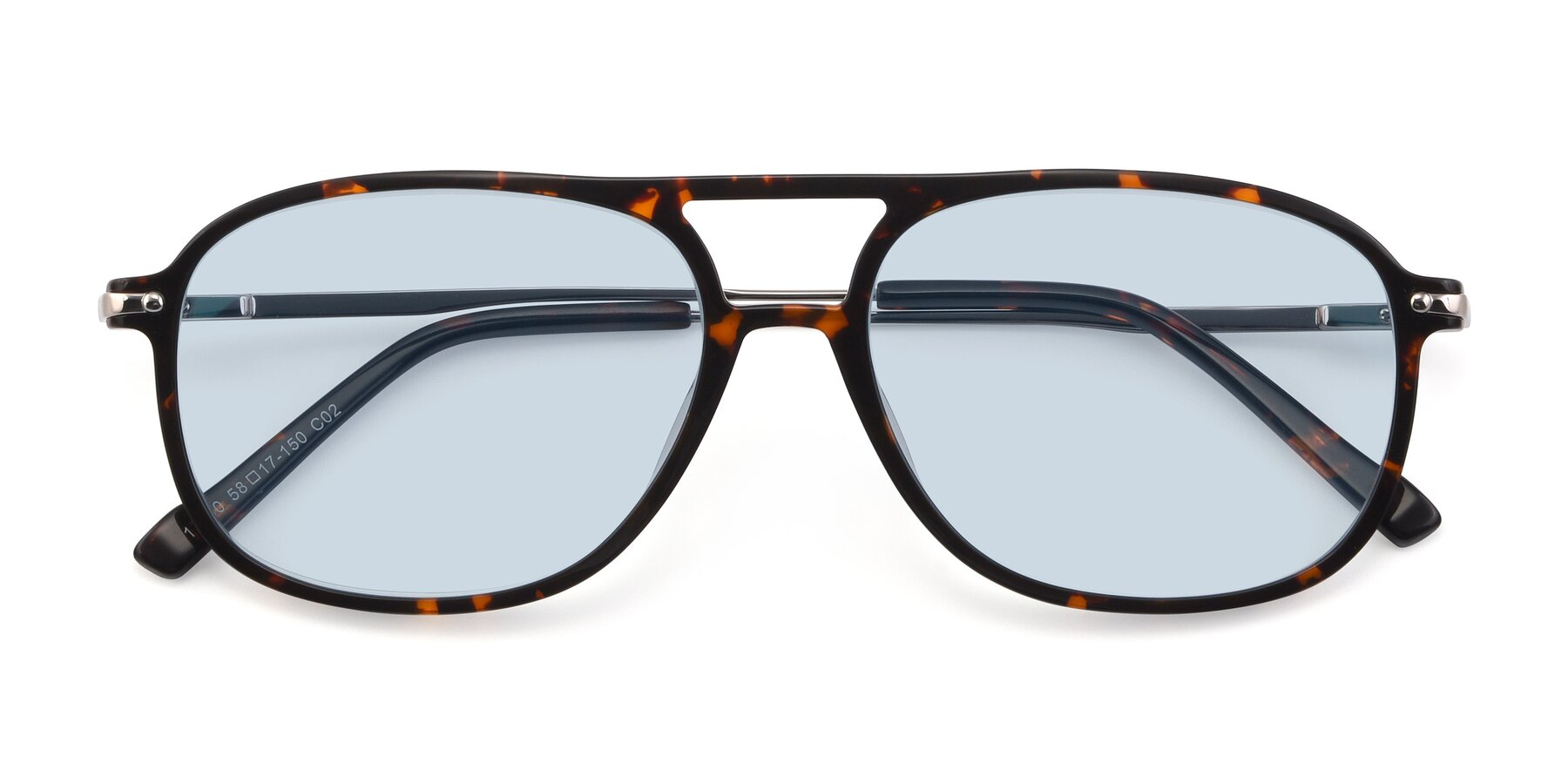 Folded Front of 17580 in Tortoise with Light Blue Tinted Lenses
