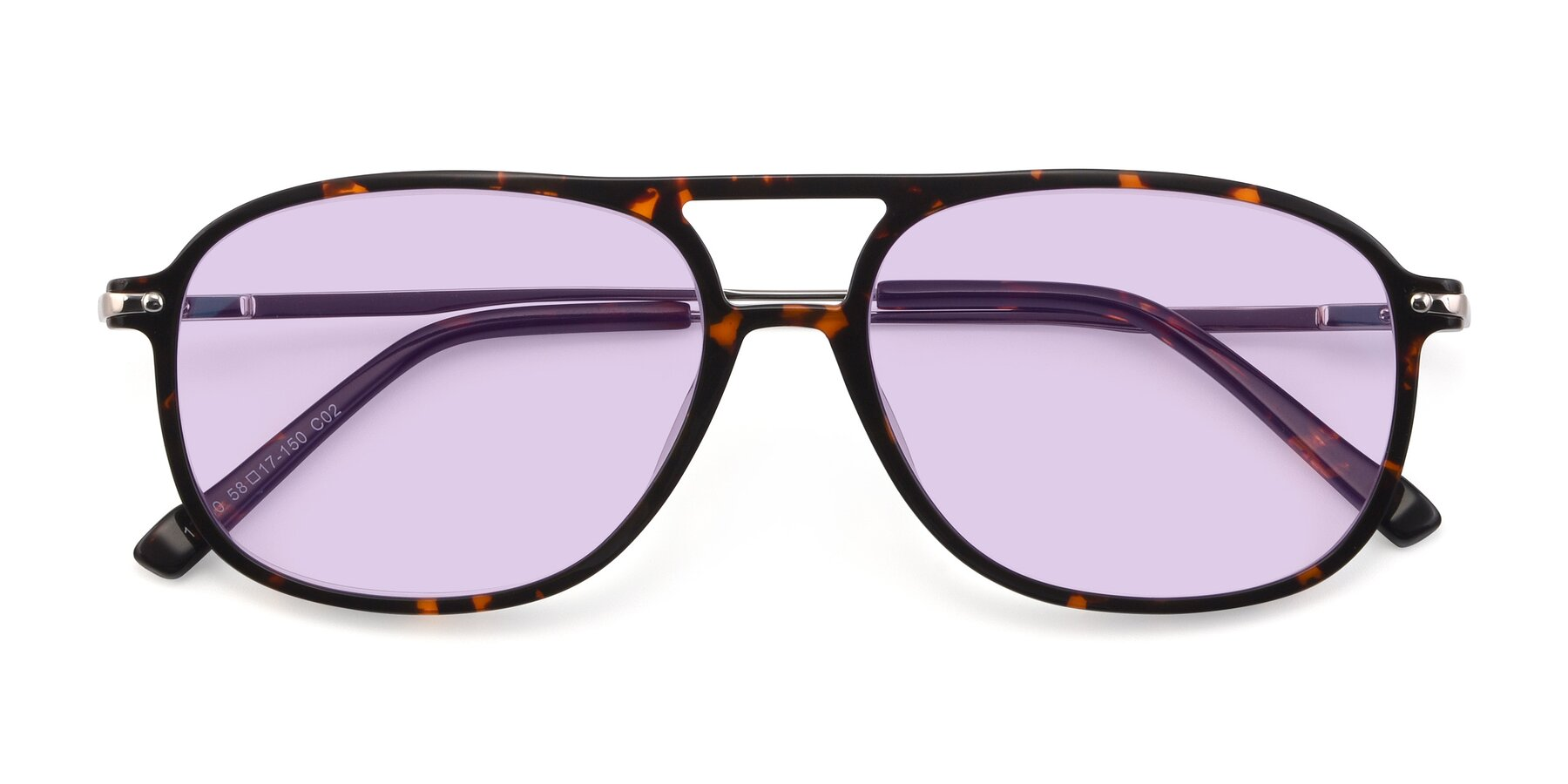 Folded Front of 17580 in Tortoise with Light Purple Tinted Lenses