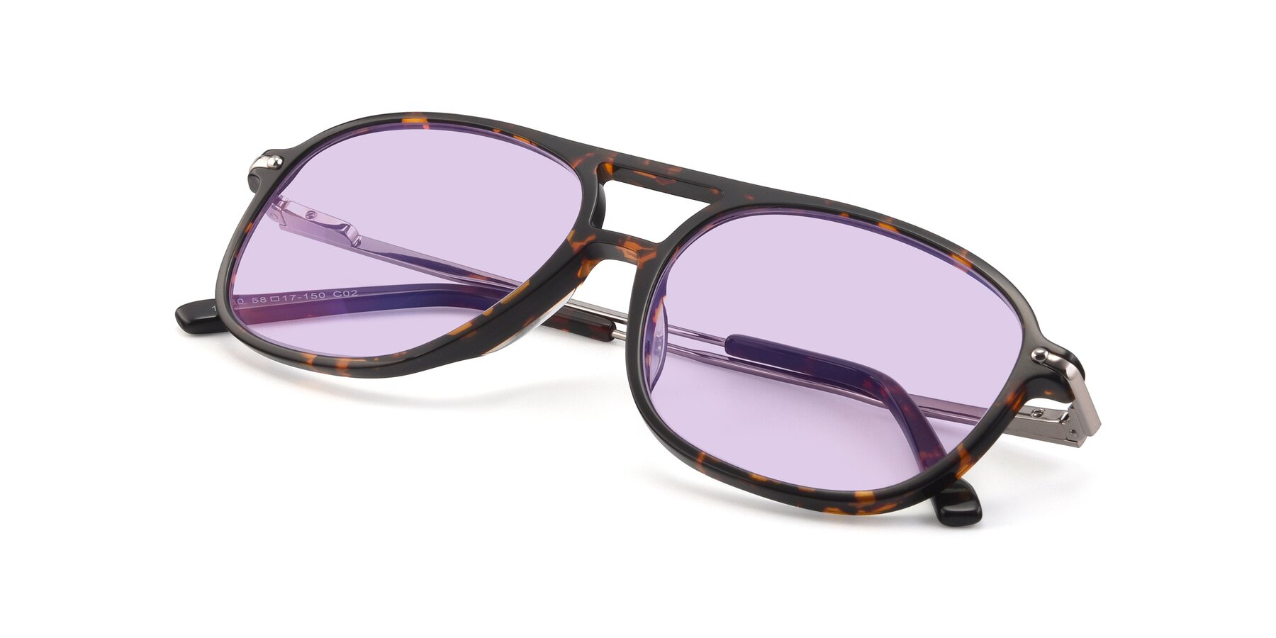 View of 17580 in Tortoise with Light Purple Tinted Lenses