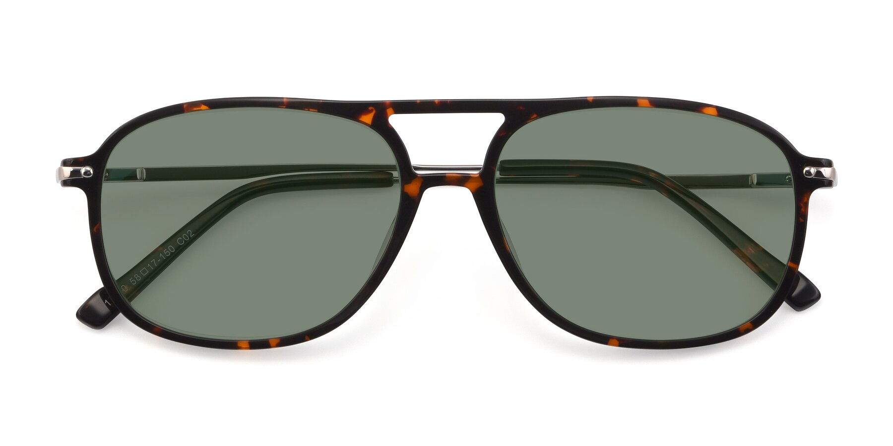 Folded Front of 17580 in Tortoise with Medium Green Tinted Lenses