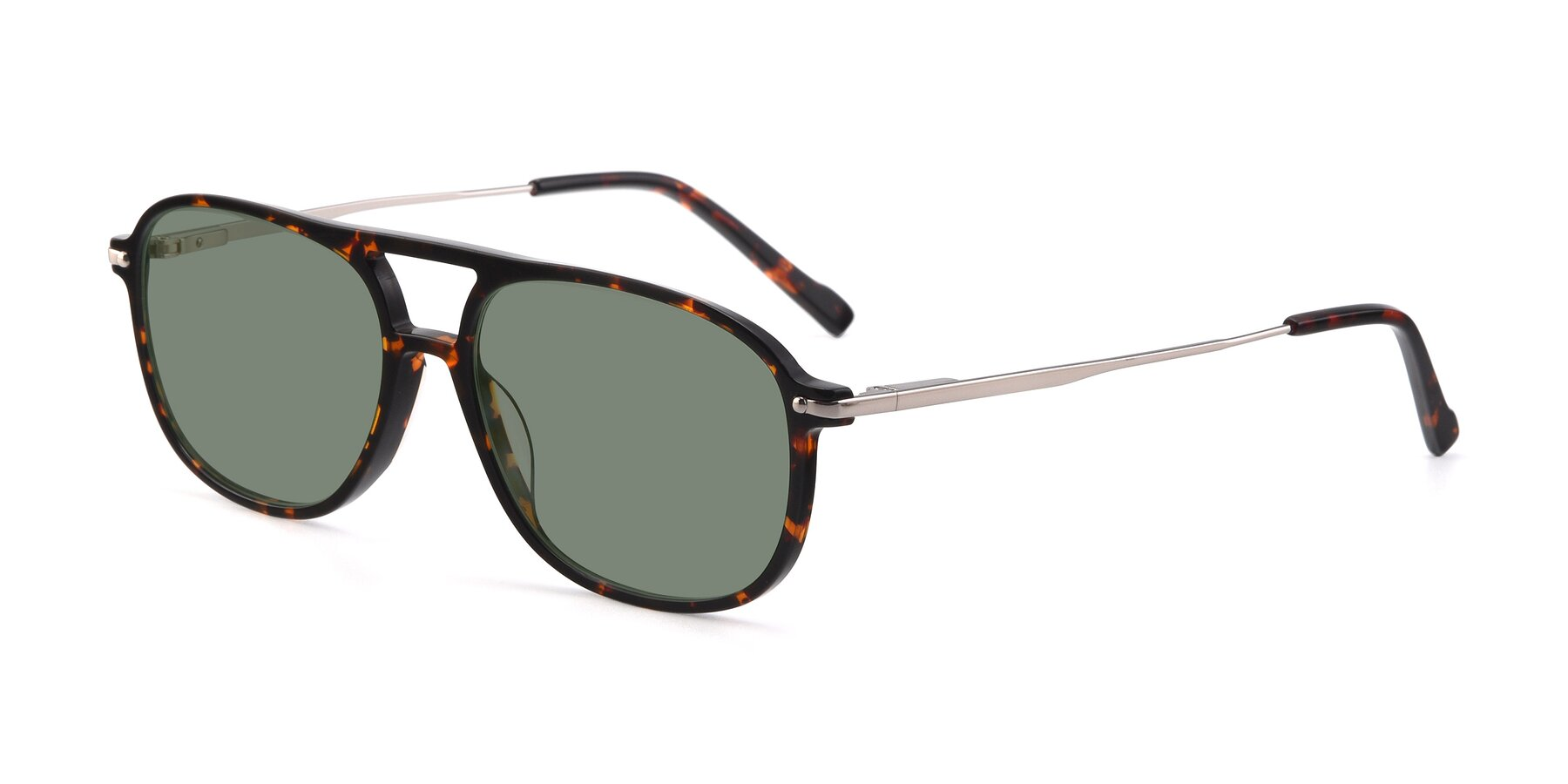 Angle of 17580 in Tortoise with Medium Green Tinted Lenses