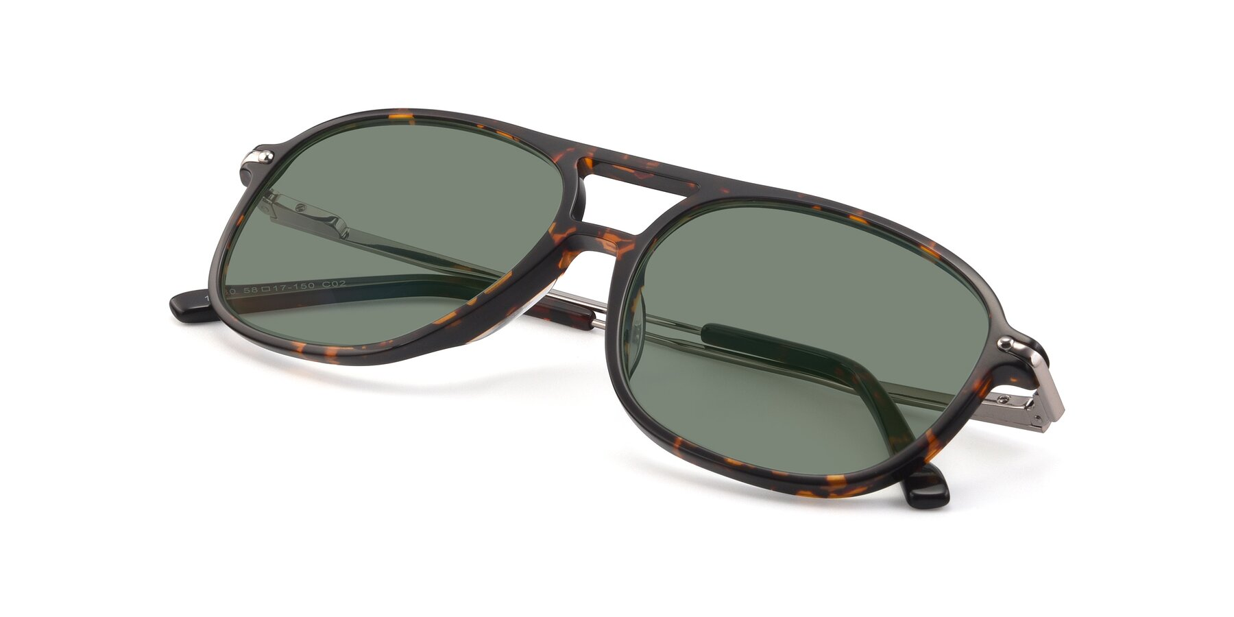View of 17580 in Tortoise with Medium Green Tinted Lenses