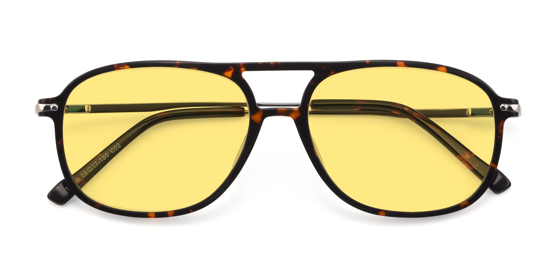 Folded Front of 17580 in Tortoise with Medium Yellow Tinted Lenses