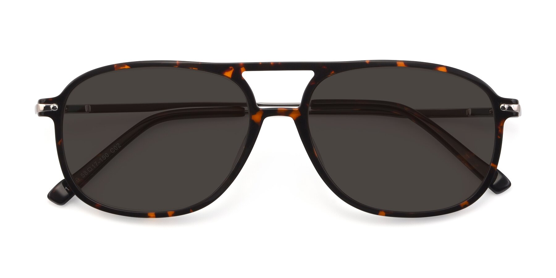 Folded Front of 17580 in Tortoise with Gray Tinted Lenses