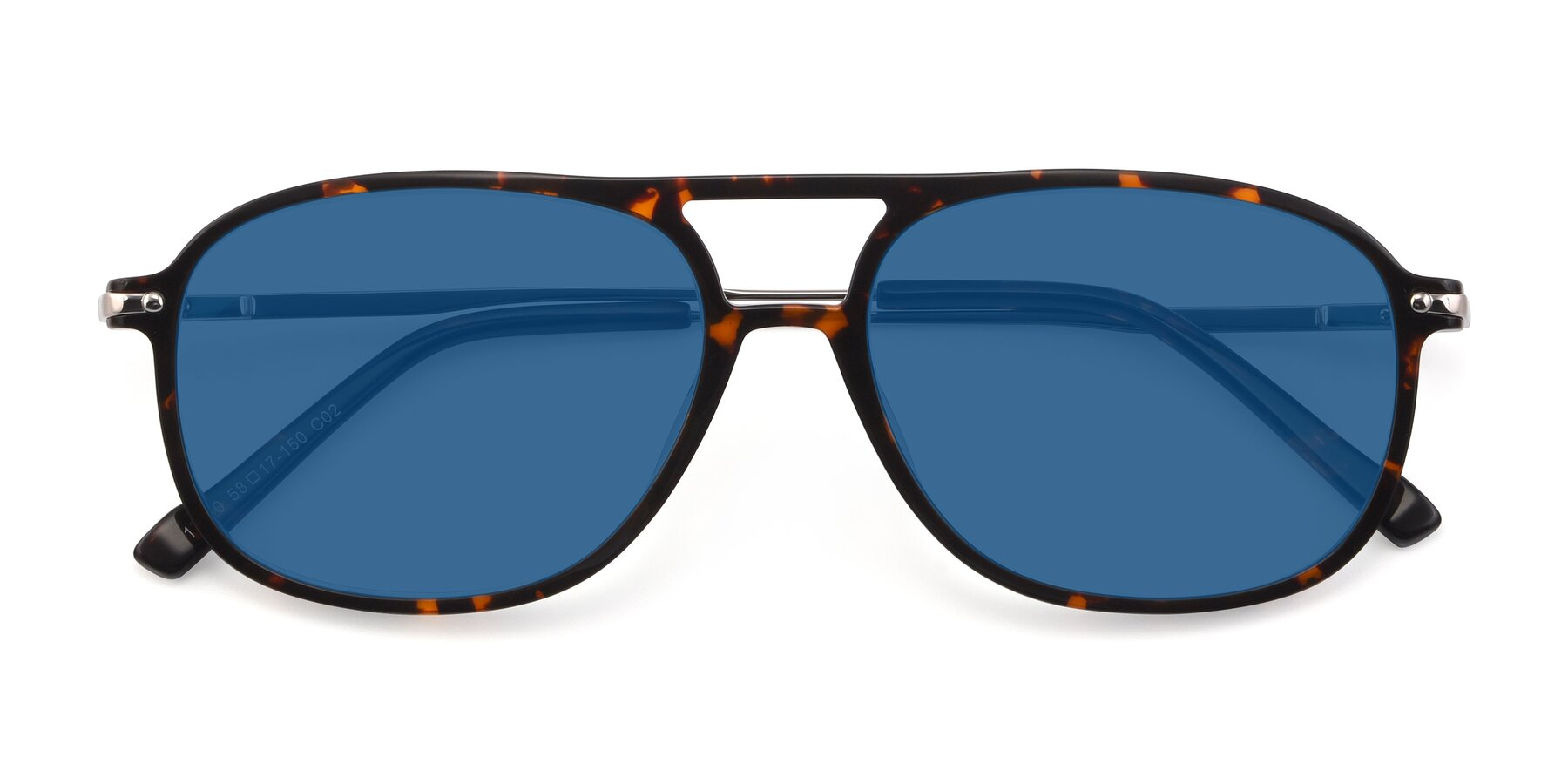 Folded Front of 17580 in Tortoise with Blue Tinted Lenses