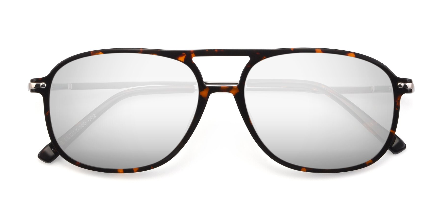 Folded Front of 17580 in Tortoise with Silver Mirrored Lenses