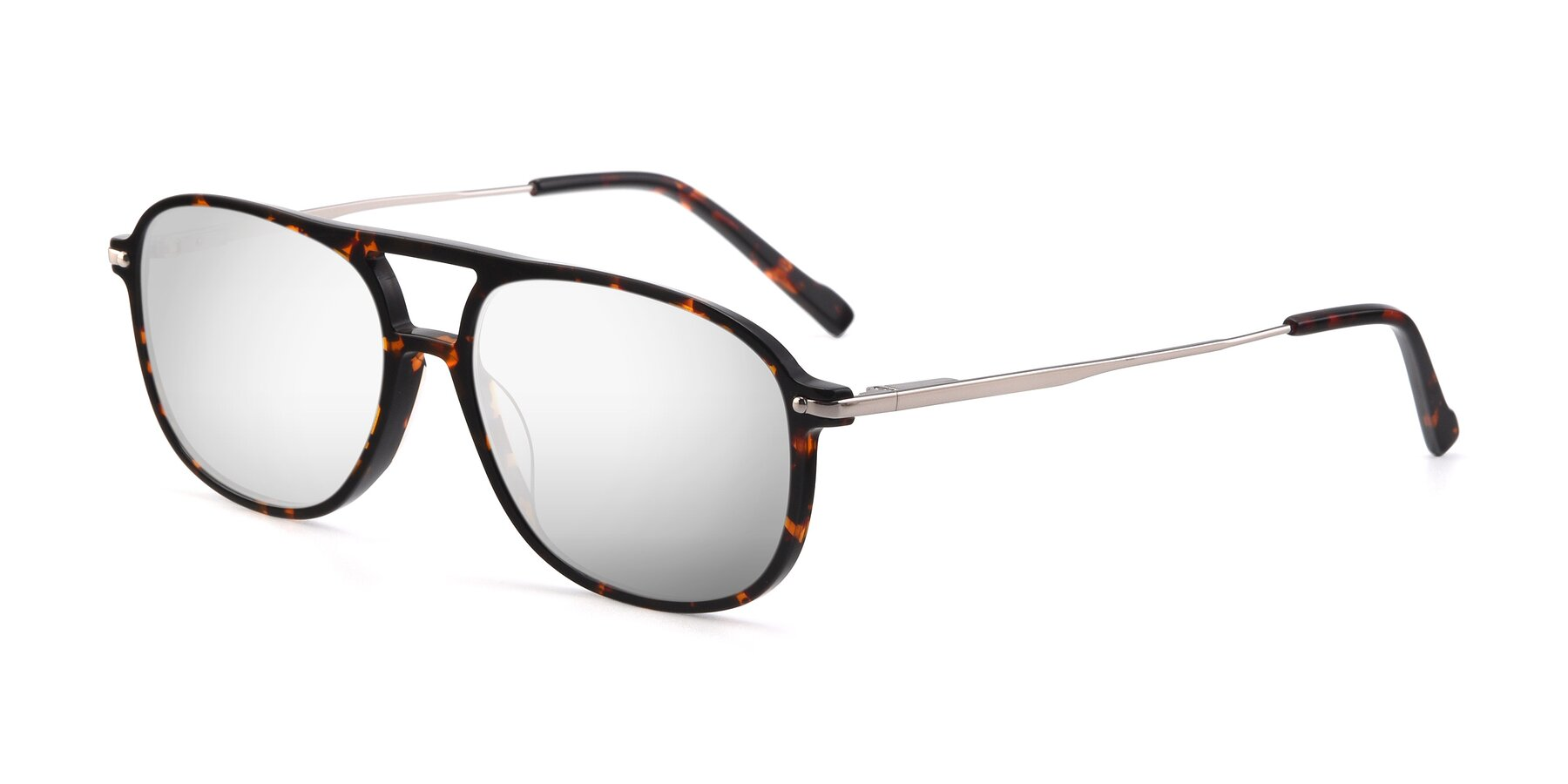 Angle of 17580 in Tortoise with Silver Mirrored Lenses