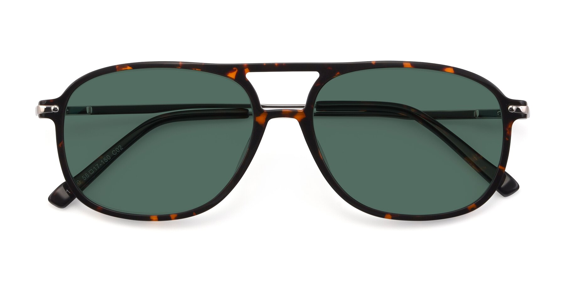 Folded Front of 17580 in Tortoise with Green Polarized Lenses