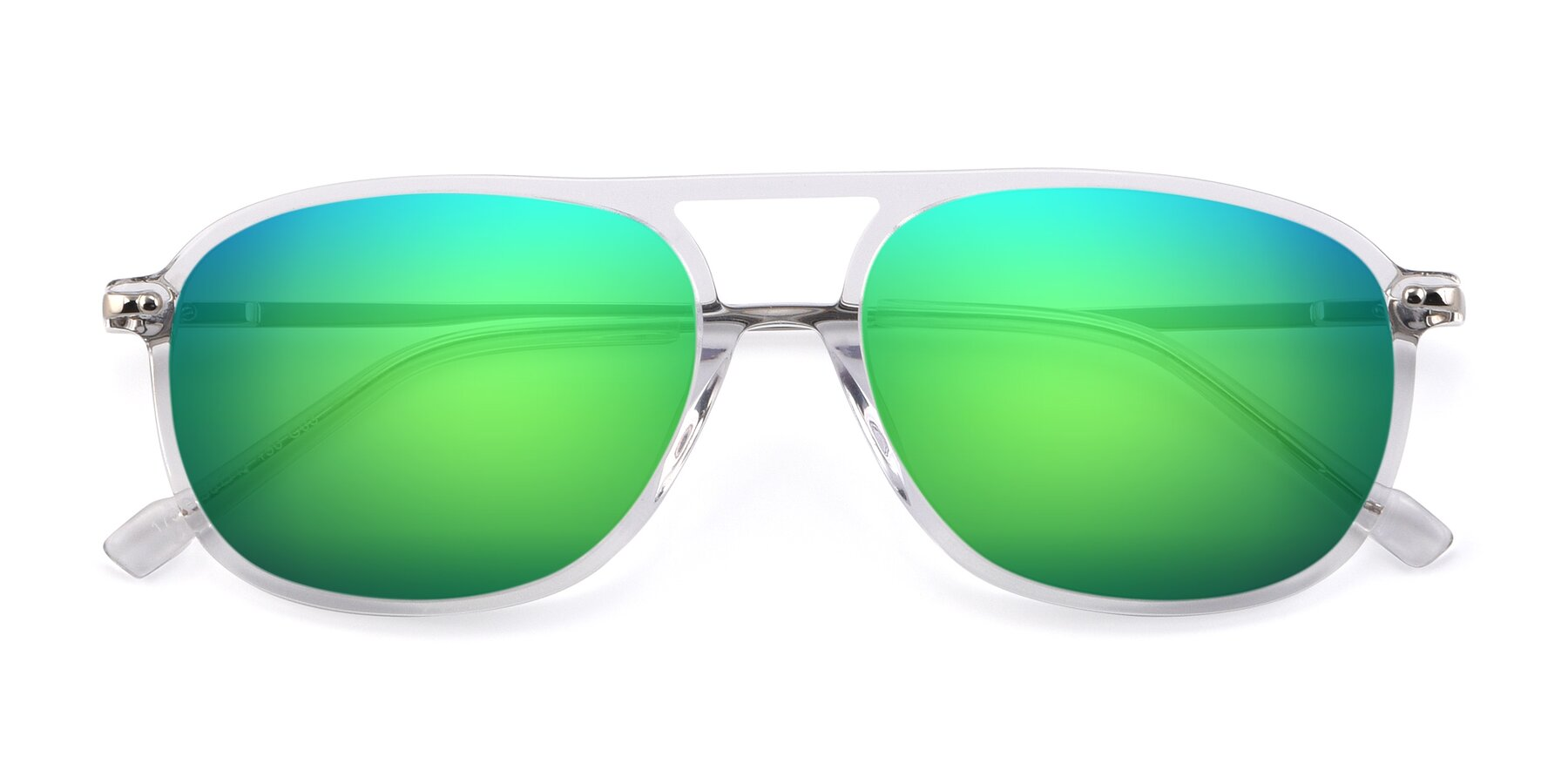 Folded Front of 17580 in Clear with Green Mirrored Lenses