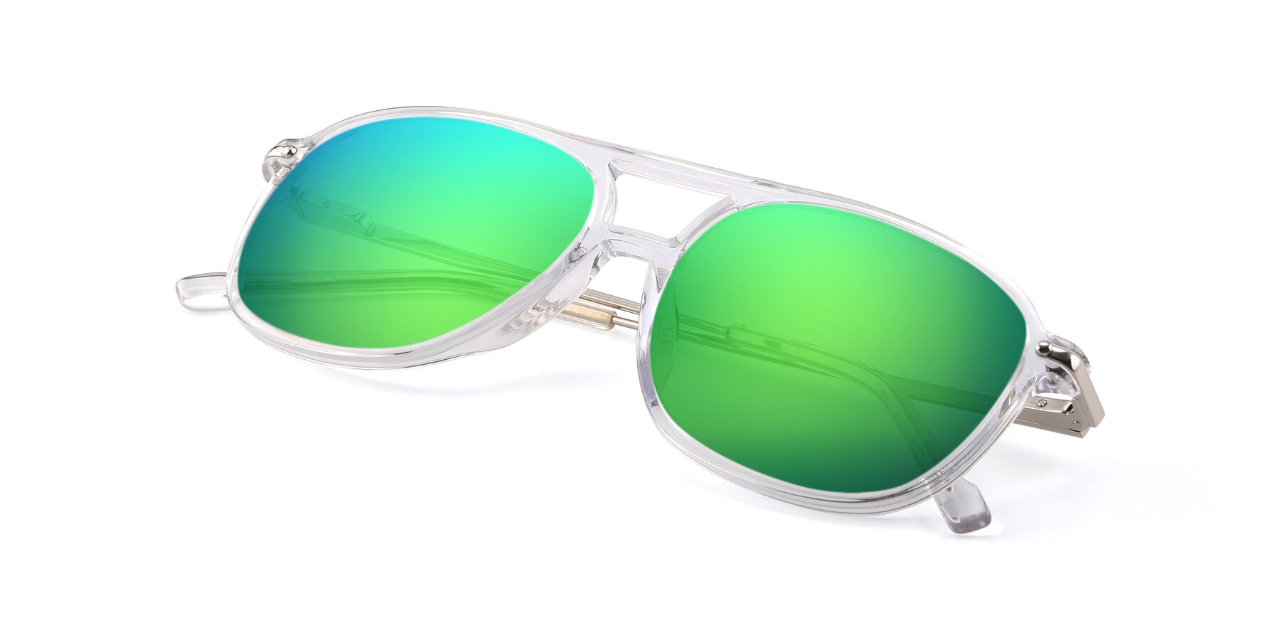 View of 17580 in Clear with Green Mirrored Lenses