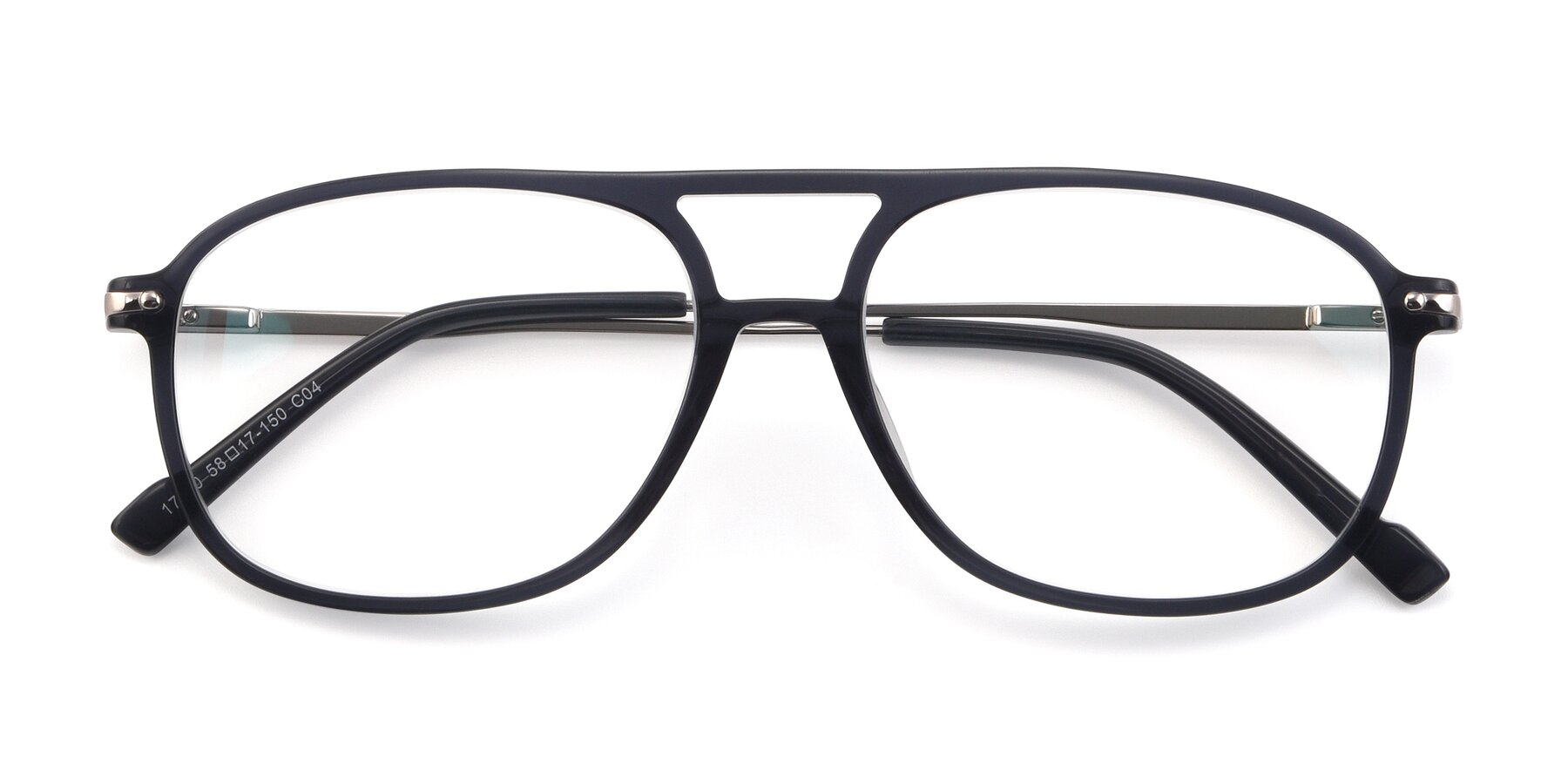 Folded Front of 17580 in Dark Bluish Gray with Clear Eyeglass Lenses