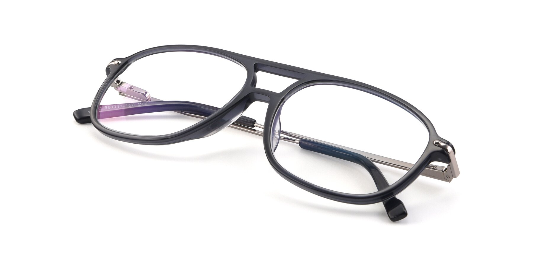 View of 17580 in Dark Bluish Gray with Clear Eyeglass Lenses