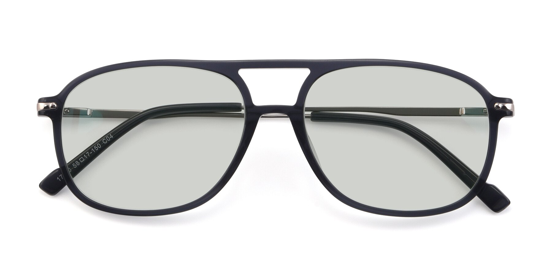 Folded Front of 17580 in Dark Bluish Gray with Light Green Tinted Lenses