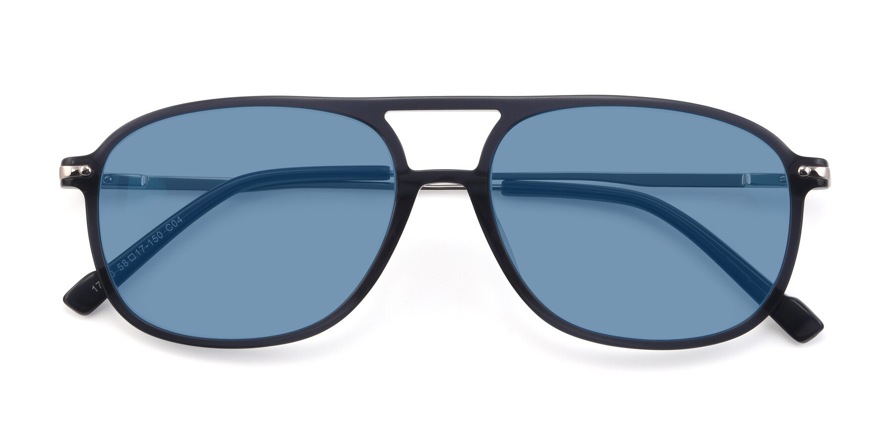 Folded Front of 17580 in Dark Bluish Gray with Medium Blue Tinted Lenses