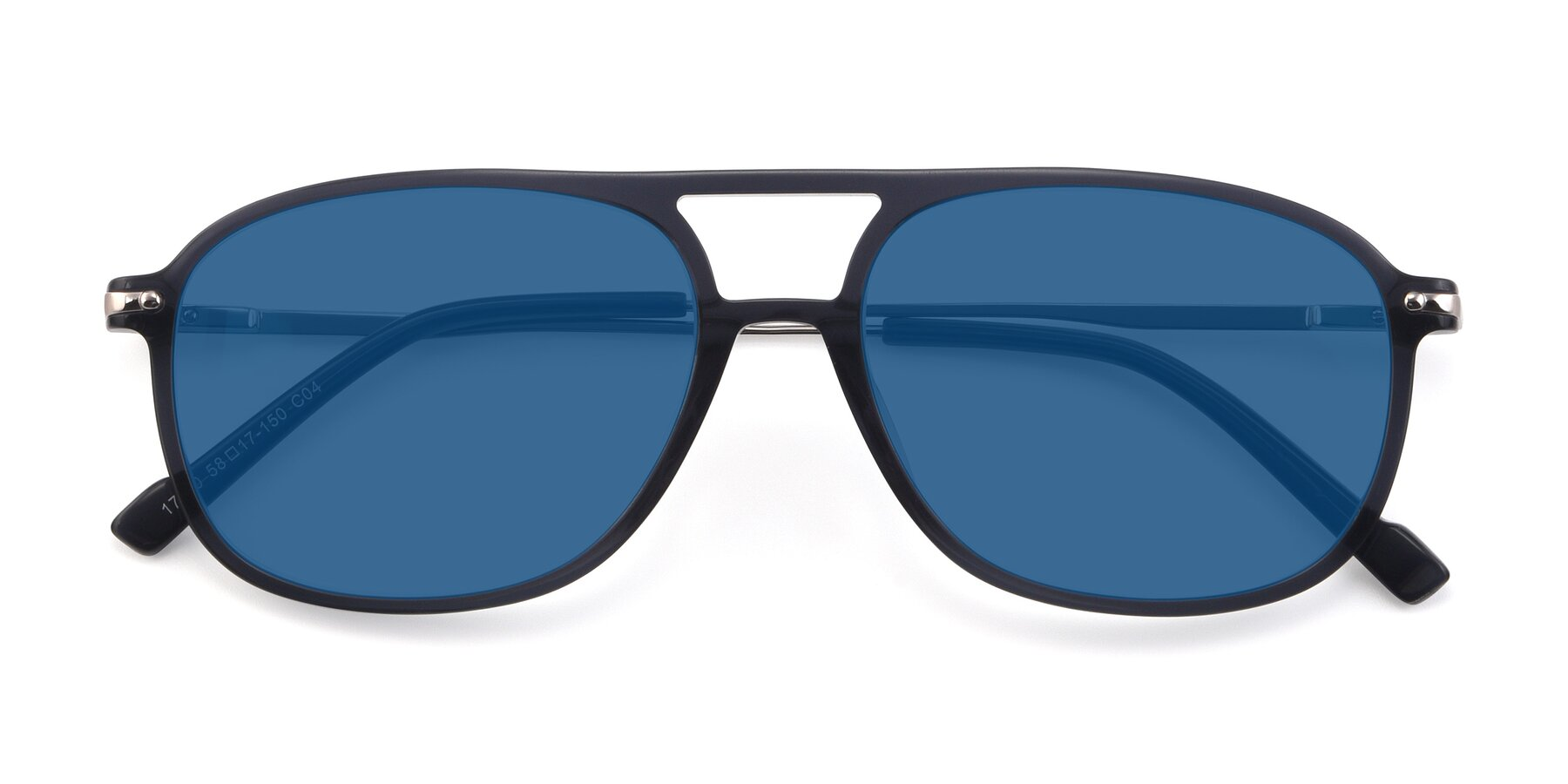 Folded Front of 17580 in Dark Bluish Gray with Blue Tinted Lenses
