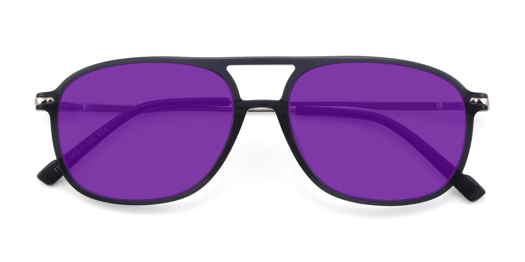 Folded Front of 17580 in Dark Bluish Gray with Purple Tinted Lenses