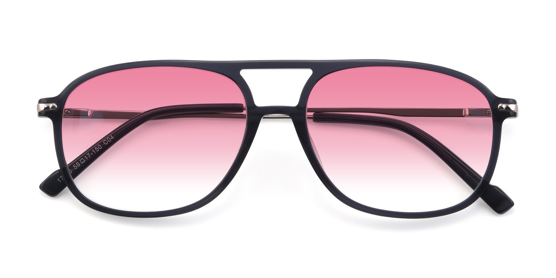 Folded Front of 17580 in Dark Bluish Gray with Pink Gradient Lenses