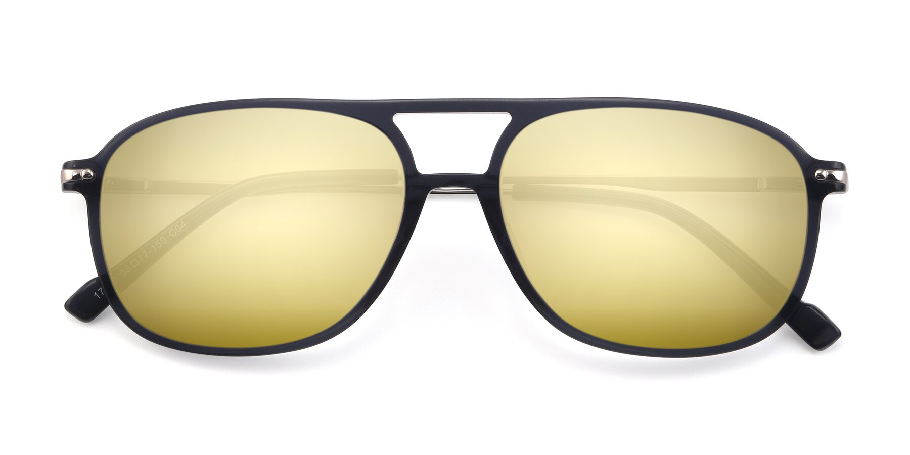 Folded Front of 17580 in Dark Bluish Gray with Gold Mirrored Lenses